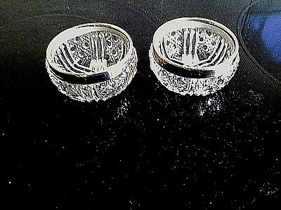 PAIR ANTIQUE STERLING SILVER and GLASS OPEN SALTS c 1920/1921