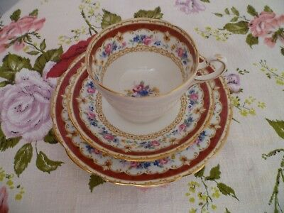 Lovely Vintage Paragon English China Trio Tea Cup Saucer Tudor Red Floral