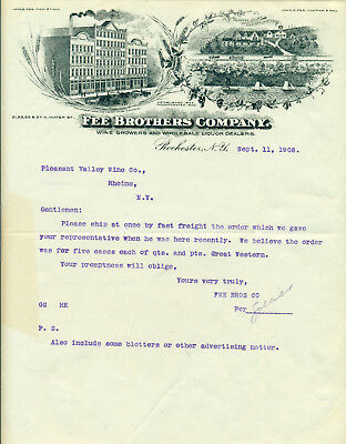 1908 Fee Brothers Wine Whiskey Rochester Ny Letterhead