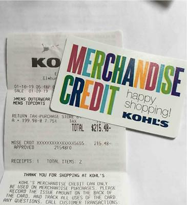 KOHL'S Merchandise credit card- $215.48