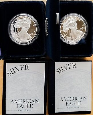 1998 American Silver Eagle Proof Coin in OGP, Lot of 2, 99c Start [Jan26_15]