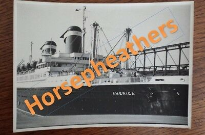 1953 United States Cruise Lines Ship SS America in NYC Harbor 5x7 B&W Photograph