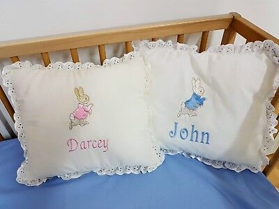 Peter rabbit, Jamima puddle duck or Mopsy frilled pillow, FREE PERSONALISATION