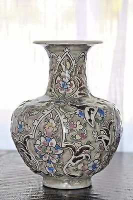 "Beautiful 9.25"" antique Persian Qajar relief vase with birds and flowers."