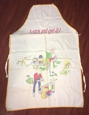 Vintage 1950's PARVIN Barbecue Apron Western Covered Chow Wagon Cowboy