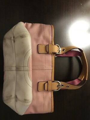 Coach Purse, small pink and white, heavy canvas and leather