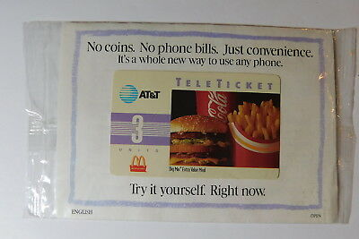 Vintage AT&T McDONALD'S TELETICKET PHONE CARD Sealed Mint! Rare!