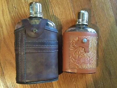 Vintage Glass Flasks W/leather Case