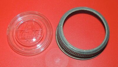 """Vintage Zinc Ring and ATLAS""""  H over A """" Clear Glass Insert Lid - Regular"""
