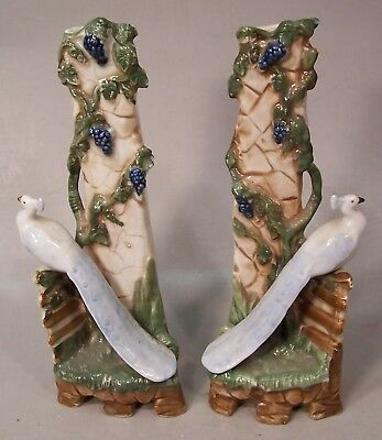 """2 Antique German Porcelain """"Peacock"""" Bud Vases by H. Hutschenreuther"""
