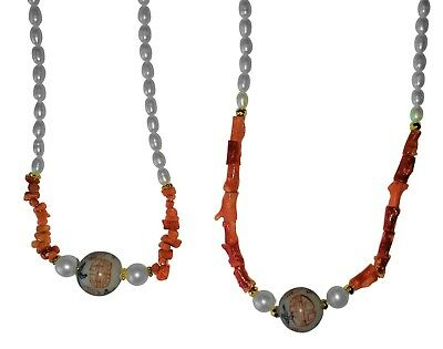 NEW: Coral & Vintage Glass Asian Writing Bead, Chinese Freshwater Pearl Necklace