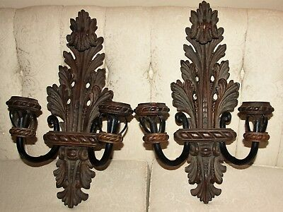Pair of Vintage Stained Carved Wood & Iron Metal Wall Sconce Candelabra