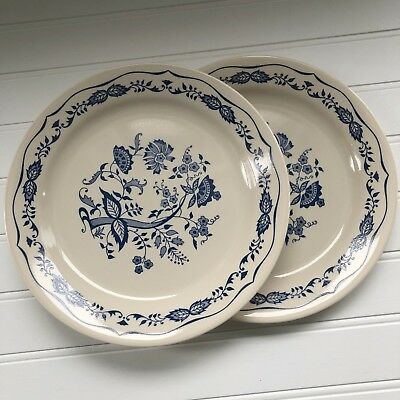"Set of 2 Vintage Corelle Blue Onion Floral Danube 9"" Luncheon Plates"