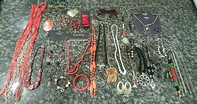 Huge Collection of Red & Black Jewellery 13 Necklaces, Sunglasses, 6 Bracelets