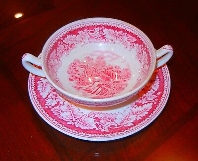 Homer Laughlin CURRIER & IVES  vintage footed cream soup bowl and under plate.