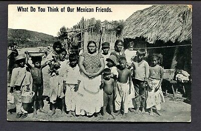 Old Postcard Disparaging Offensive Mexican Friends Mexico Family Nude Boys 1915