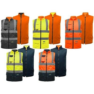 Hi Vis Reversible Bodywarmer S-3Xl Fleece Lined Waterproof High Viz Gilet Ek