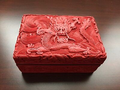 Vintage Chinese Red Cinnabar Lacquer Box with Carved Dragon Motif