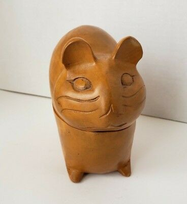 Carved Wood Hamster Guinea pig chinchilla shaped Sculpture Trinket Box