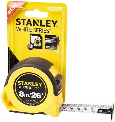 Stanley STHT30176-8 White Series Tough Case Tape Measure 8m 26' 25mm Wide Blade