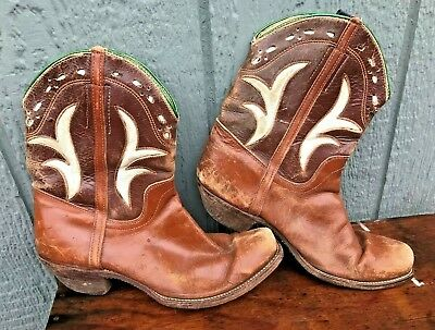 Vintage 1940's 1950's ACME Inlay Western Leather Shorty Peewee Cowboy Boots 5-6?