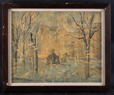 """Small Post Impressionist Oil Painting """"Winter Trees"""""""