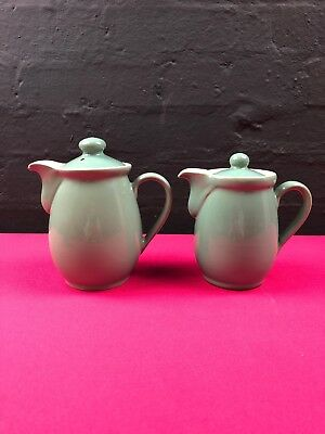 2 x Denby Manor Green Coffee Pots 0.75 Pint and 1 Pint