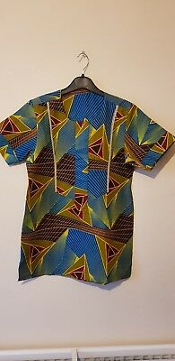 Boys Blue & Yellow Multicoloured African Kaftan/ Nigerian Jumper  5-6 Years