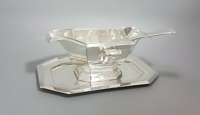 Art Deco silver plate large sauce gravy boat on stand ladle faceted 2-handle