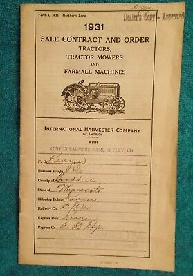 1931 INTERNATIONAL HARVESTER Tractor, Mower & Farmall Order Book - KENYON, MN