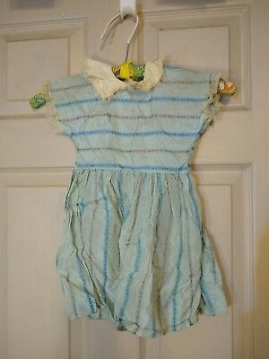 VTG Doll Girl Childs Party Dress 1950 Sheer Satin floral Lace blue collar