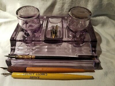 Antique SANFORD'S Amethyst Pressed Glass Inkwell w/ 2 Ink Bottles & Pens & Tips