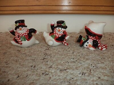 Fitz And Floyd Christmas Holly Jolly Snowman Tumblers Figurines 3 Pc. Set