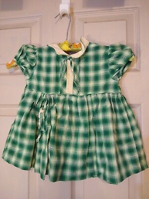 VTG Doll Girl Childs Party Dress 1950 cotton green plaid white collar