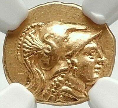ALEXANDER III the GREAT Ancient 325BC Gold Greek Quarter Stater Coin NGC MS