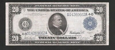 Rare Cleveland Burke/houston 1914 $20 Large Federal Reserve Note