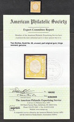 Italian States - Mint Two Sicilies #26 With Aps Certificate Cv$550.00