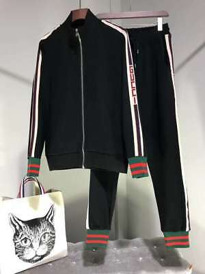 Gucci 2018 New Style Colbalt Black Technical Tracksuit GG Jacket Pants