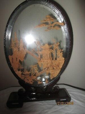 VINITAGE Asian Glass Shadow Box Pagodas Trees with Cranes