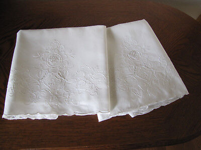 Vintage Pair of Pillowcases All White Embroidered & Openwork Cherry Blossoms Wow