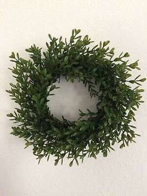 """Farmhouse Style New England Boxwood 8""""  Wreath/candle Ring - COUNTRY DECOR"""