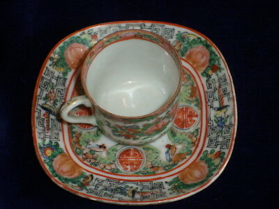 Antique Chinese ROSE MEDALLION Hand Painted Tea Cup & Saucer