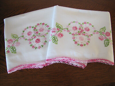 Vintage Pair of Pillowcases Embroidered Crocheted Triple Aster Wreaths Exquisite