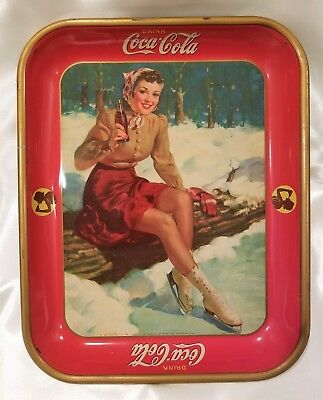 1941 Vintage Coca Cola Serving Tray, Lady Ice Skater, Never Used!