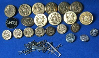 WWII Wisconsin & New York State Buttons Lot Of 22 by Browning-King & Scovill