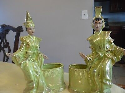 Gilner Balinese Siamese Siam Dancers Vintage Signed Chartreuse  Planters  T