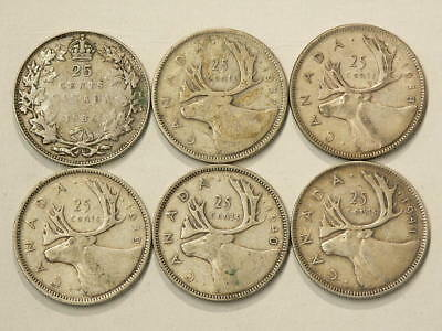 Canada 25 Cents 1936 1937 1938 1939 1940 & 1941 Lot of 6 #1591