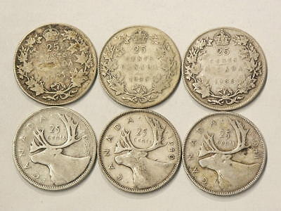 Canada 25 Cents 1931 1933 1936 1937 1940 1941 Lot of 6 #1640