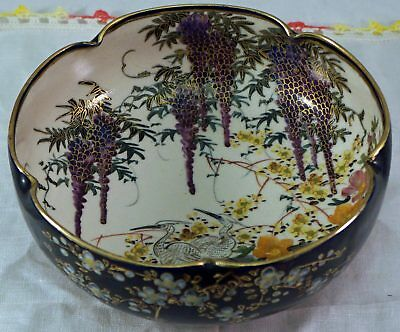 Hand Painted Satsuma Pottery Bowl with Hanging Wisteria Herons and more Signed