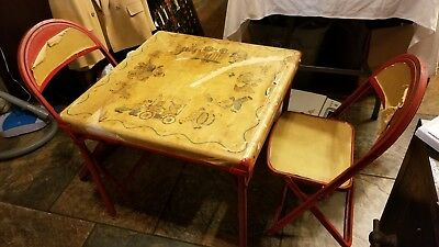 Vintage 3pc Childs Red Metal Folding Table & Chairs The Durham Line Table 6C